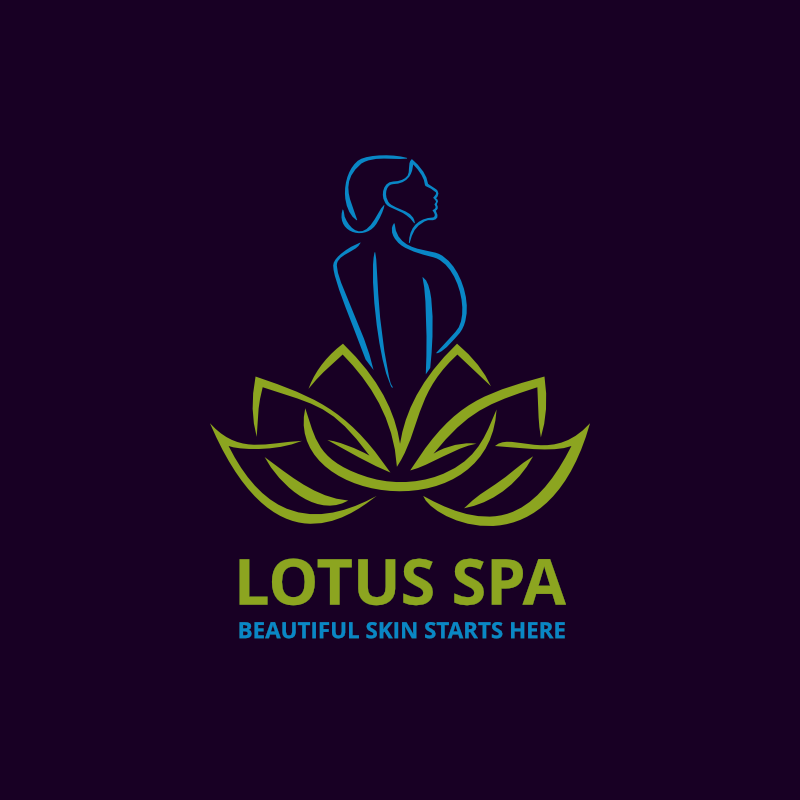 Awesome Beautiful Lotus Spa Logo Template